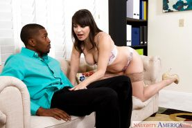 Interracial MILF pornstar wife Dana DeArmond giving hubby's BBC a blowjob