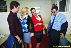 Jewels Jade and her cruel friend enjoy CFNM action in the office