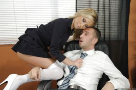 Busty office babe Tasha Reign gets her pussy licked and cocked up