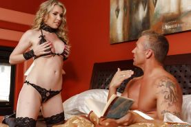 Blonde housewife Courtney Cummz drips cum from mouth after giving blowjob