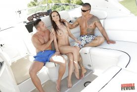 Tiny tits milf Sophie Lynx gets double penetrated outdoor