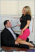 Horny office babe Amber Ashlee gets her pussy licked and slammed