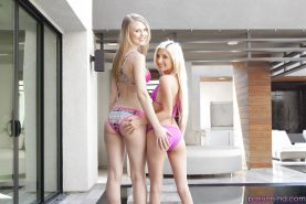 Dyke teen pornstars Lily Rader and Piper Perri free tiny tits from bikinis
