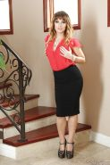 Hot babe Jessica Ryan posing fully clothed in long black skirt