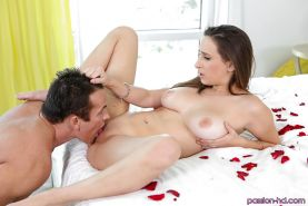 Busty brunette Ashley Adams taking hardcore mouth fucking and creampie