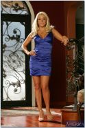 Busty blonde Brianna Blair stripping from elegant dress and posing nude