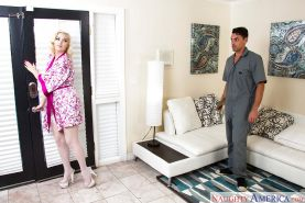 Horny blonde wife Jenna Ivory seducing her man in white stockings and garters