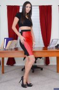 Anna Morna shows off her tiny tits while masturbating in the office