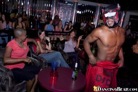Clothed ladies enjoy a wild non nude party with a dancing stripper