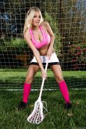 Posing outdoor scene features big tits babe Kayla Kayden doing sports
