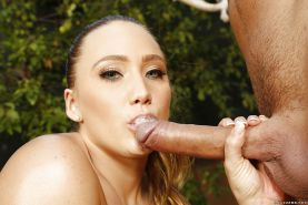 Cute small-titted model AJ Applegate tastes that nice pole with smile