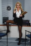 Busty blonde secretary Alix Lynx poses in tight white blouse and stockings