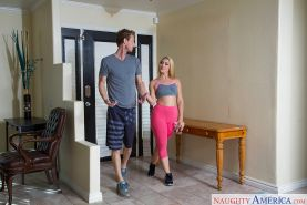 Blonde wife AJ Applegate having sexual relations with hubby in mesh stockings