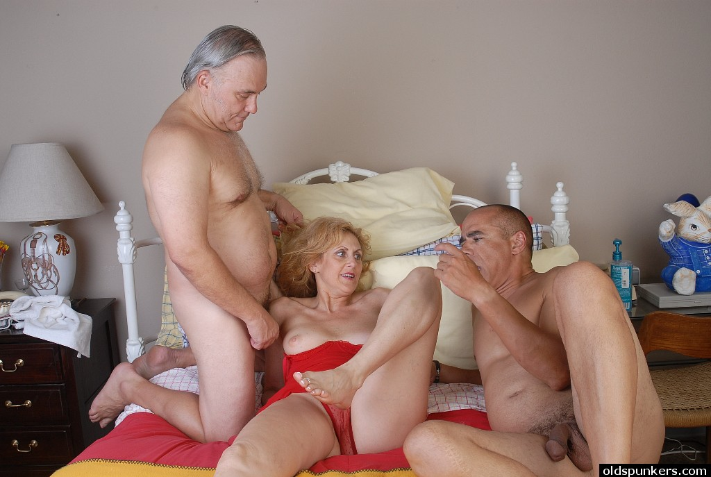Old Man Young Threesome