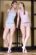 Hot teen Euro lesbian girls Liv A & Paloma B in pigtails strip sexy lingerie