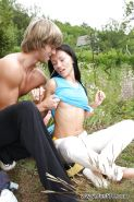 Exhibitionist teen Sasha Rose rides her hung boy toy's long cock