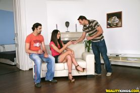 Stunning european teen Nataly Gold gets double penetrated in gangbang