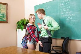 Sweet blonde Dakota James is giving head for her teacher after lessons