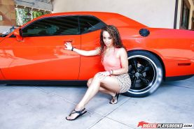 Black solo girl Teanna Trump undressing to pose nude inside sports car
