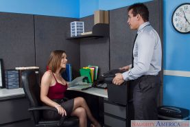 Office milf Krissy Lynn is sucking this big prick and swallowing cum