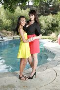 Lesbians Eva Karera and Janice Griffith are showing their big tits