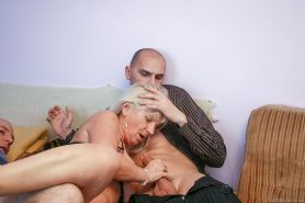 Granny Anna A takes cumshot on tits after ass fucking double penetration