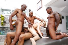 Hot Kagney Lynn Karter takes 4 big black cocks in painful interracial 4some