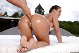 MILF Phoenix Marie has her oiled asshole finger fucked before cumshot