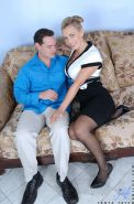 Busty stocking garbed MILF Tanya Tate sporting creampie after hardcore sex