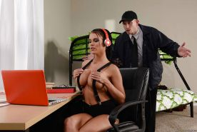 Busty coed Peta Jensen gives campus security guard a blowjob and fuck
