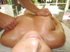 Pretty babe with big tits Lily Love gets screwed on the massage table