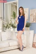 Undressing action with an amateur teen babe Stella Cox in high heels