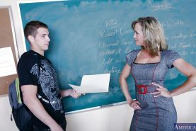 Good-looking busty teacher Brandi Love bangs her favorite student