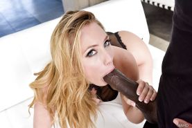 Blonde pornstar AJ Applegate giving massive black cock interracial oral sex