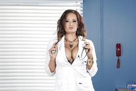 Buxom MILF Tory Lane posing for solo girl session in uniform and lingerie