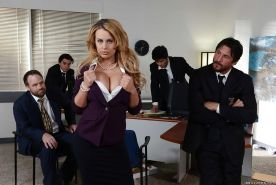Busty secretary Corinna Blake has her juicy snatch ate out by co-worker