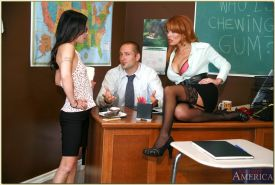 Office whores in stockings Jersey Jaxin and Sienna West in threesome