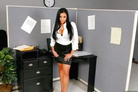 Office babe Audrey Bitoni with big tits strips for sex adventures