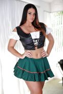 Pretty solo babe Alison Tyler posing in Wench uniform and flashing ass