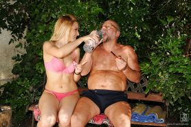 Kinky european babe gets pissed on and banged by an oldman outdoor