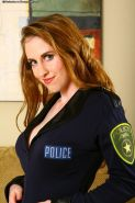 Dirty-minded police lady with sexy curves gets rid of her uniform and lingerie