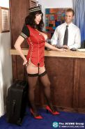 Alia Janine dressed in steward uniform and performs hot titjob in hotel