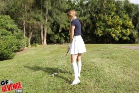 Young girlfriend sporting jizz on 18 year old pussy after sex on golf course