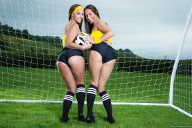 Amirah Adara and Mea Melone free big butts from sports uniforms outside