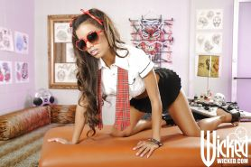 Skinny latina babe in mini skirt Lupe Fuentes showing her sweet body