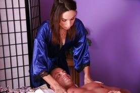 Gorgeous MILF Amber Rayne massages her sexy guy and blows his hard dick