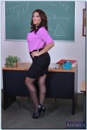 Curvy mature teacher Leena Sky stripping down in the classroom
