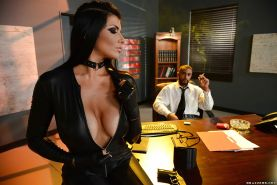 Chesty brunette beauty Romi Rain taking BBC in leather outfit