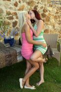 Lesbian Leila Smith fucks with her blonde sister at the backyard