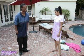 Glamorous Asian babe Asia massages big guy over swimming pool